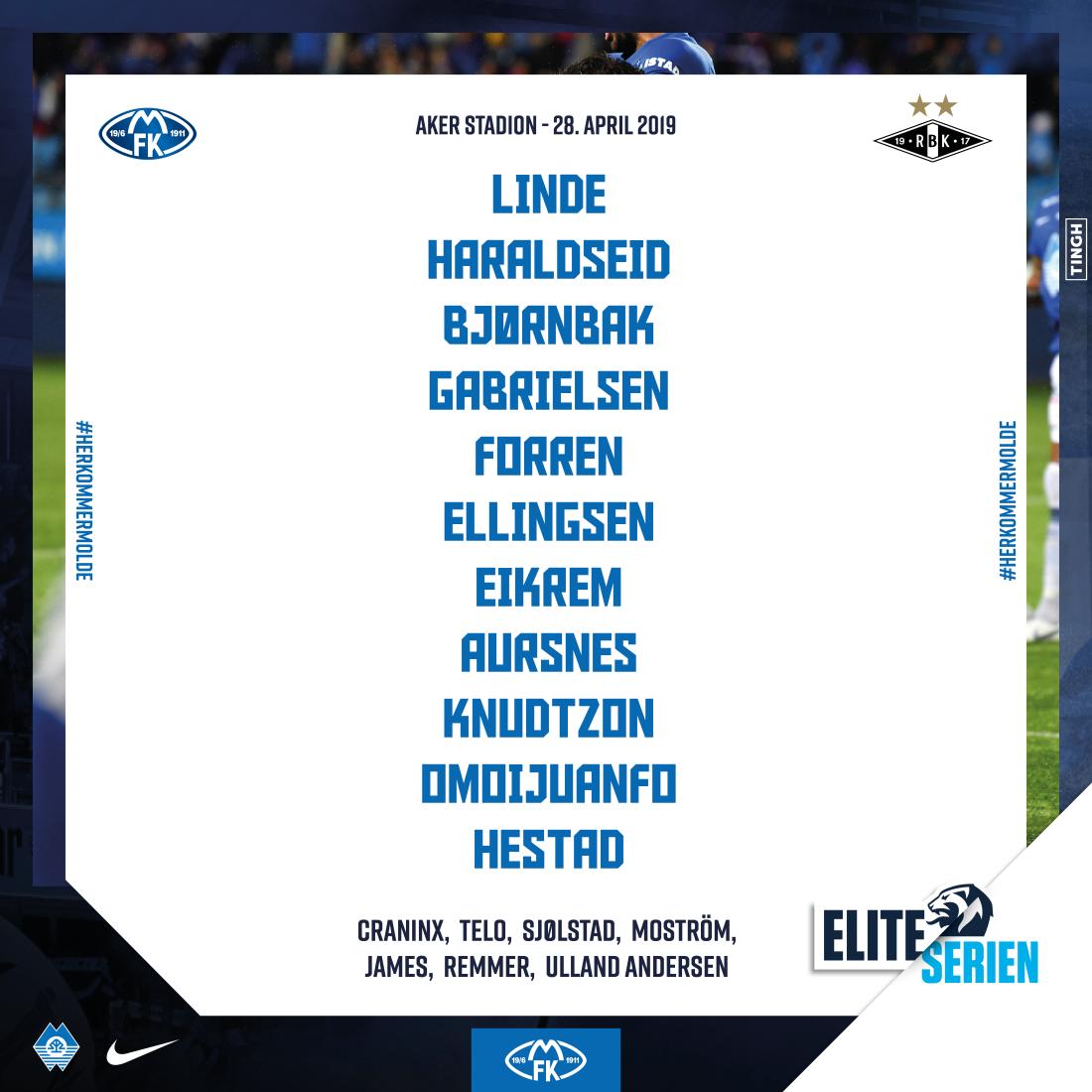 Her er laget som Molde stilte med mot Rosenborg.