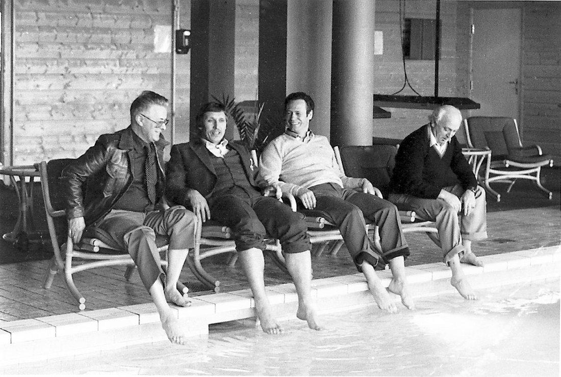 Styret på studietur fra v: Øyvind Ohr, Olaus Brunvoll, Gunnar Hagbø og Bjørn Hammerø