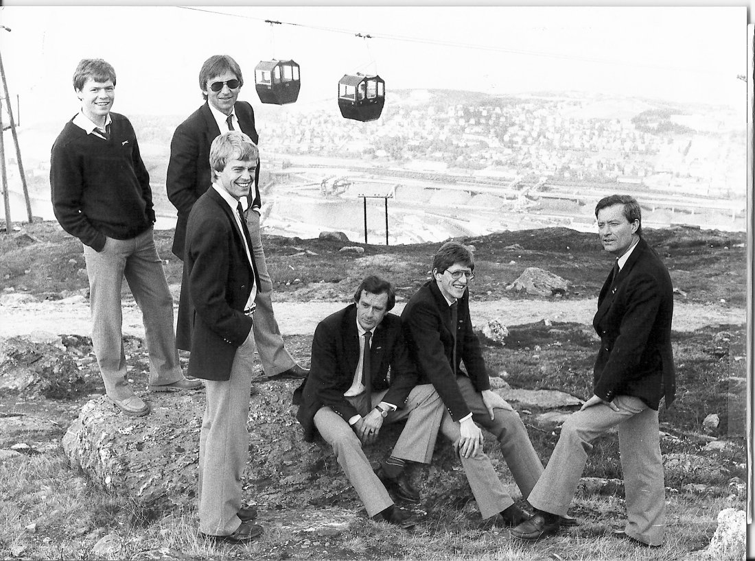 Gutta i Tromsø. Fra venstre: Ivar Helge Mittet, Jan Fuglset, Tor Gunnar Hagbø, Svein Kanestrøm, Bertil Stranden og Rolf Huseby. Foto: RB