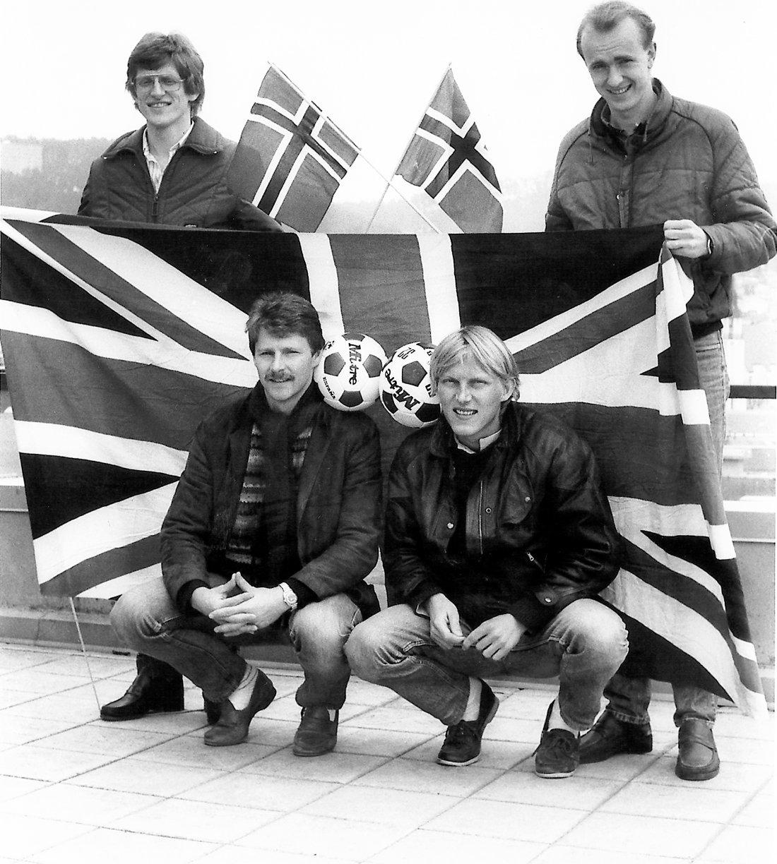 Inge Bratteteig og Knut Nesbø klar for England. Bak: Bertil Stranden og Steinar Henden.
